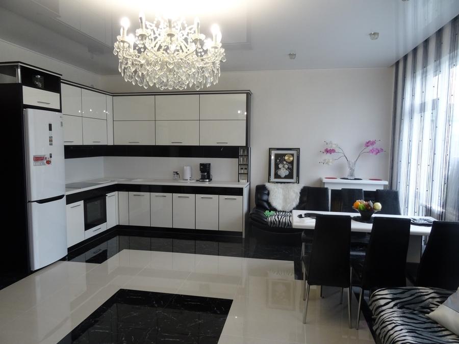 Белый кухонный гарнитур-Кухня МДФ в эмали «Модель 68»-фото1