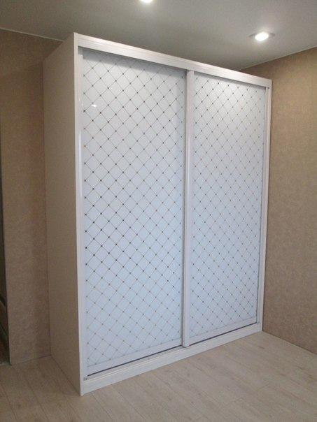 Белые шкафы-купе-Шкаф-купе из стекла «Модель 296»-фото1