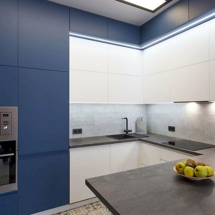 Белый кухонный гарнитур-Кухня МДФ в эмали «Модель 678»-фото2