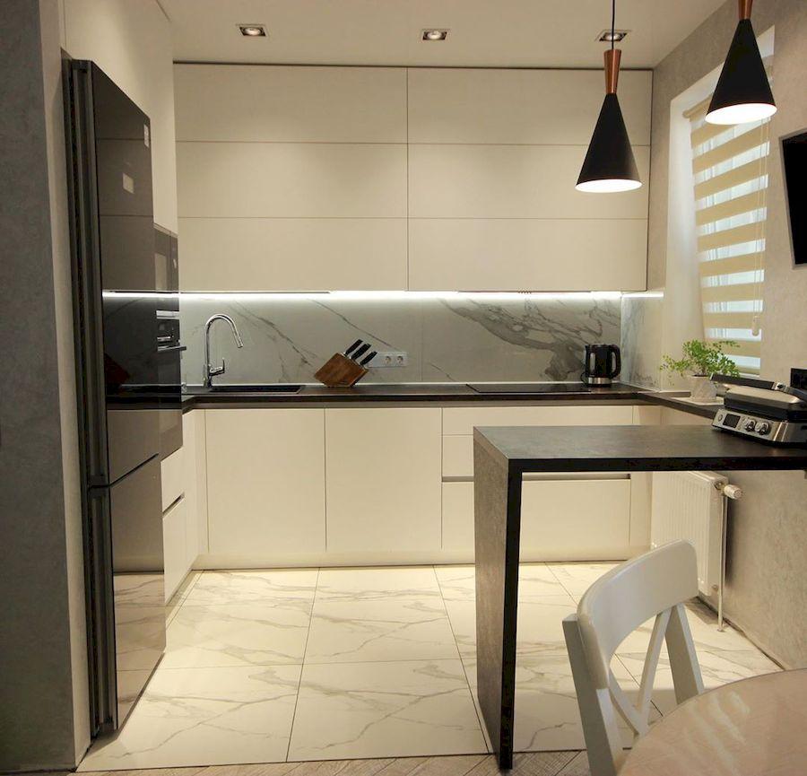 Белый кухонный гарнитур-Кухня МДФ в ПВХ «Модель 660»-фото2