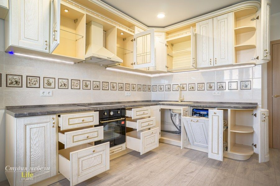 Белый кухонный гарнитур-Кухня из шпона «Модель 562»-фото4
