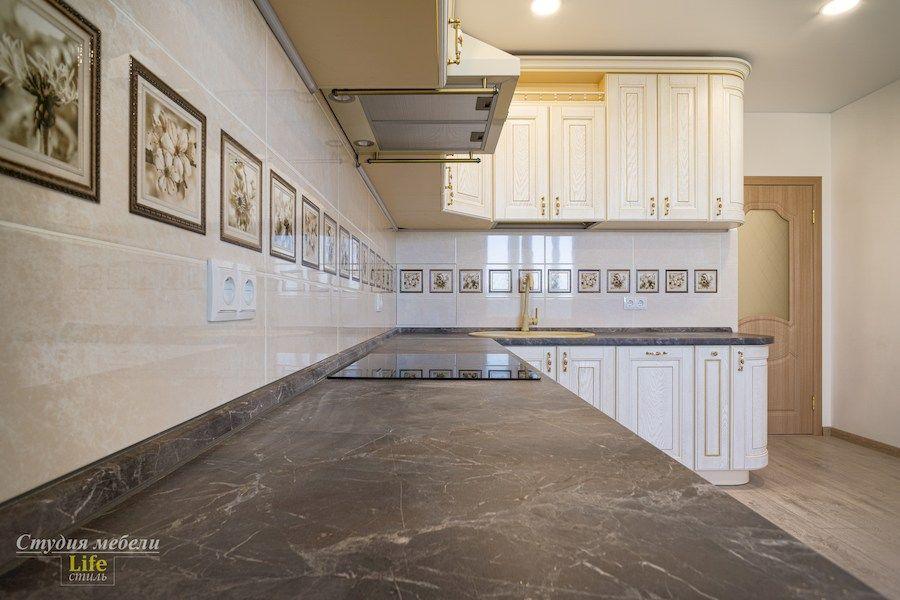 Белый кухонный гарнитур-Кухня из шпона «Модель 562»-фото7
