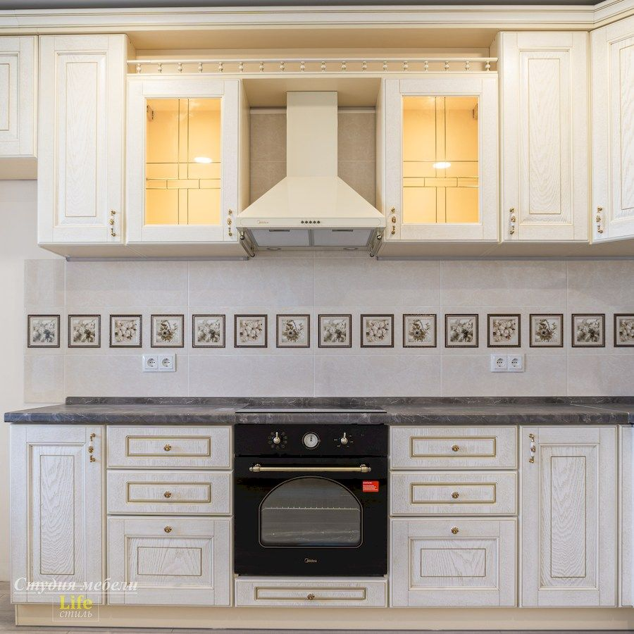Белый кухонный гарнитур-Кухня из шпона «Модель 562»-фото2