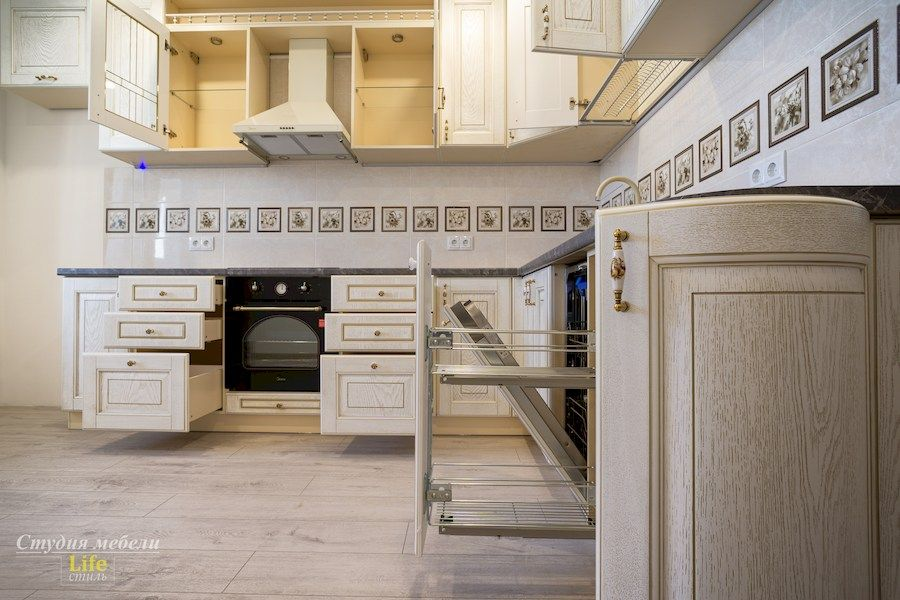 Белый кухонный гарнитур-Кухня из шпона «Модель 562»-фото5
